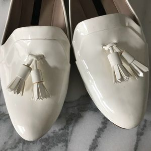 Zara glossy white flat loafers with tassels